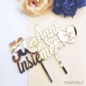 Partecipazione matrimonio in legno o plexiglass con stampa fiori blu